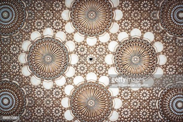 Full Frame Shot Of Carving On Wall At Mosque Hassan Ii