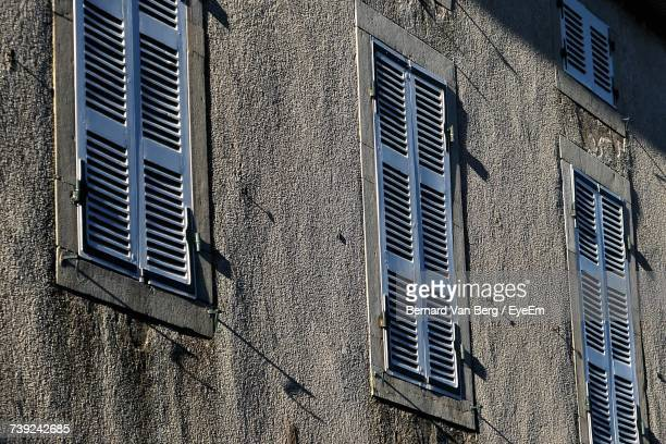 Full Frame Shot Of Closed Windows On Wall