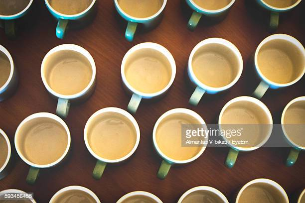 Full Frame Shot Of Coffee Cups Arranged On Table