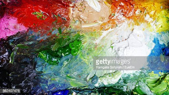 Full Frame Shot Of Colorful Acrylic Paints