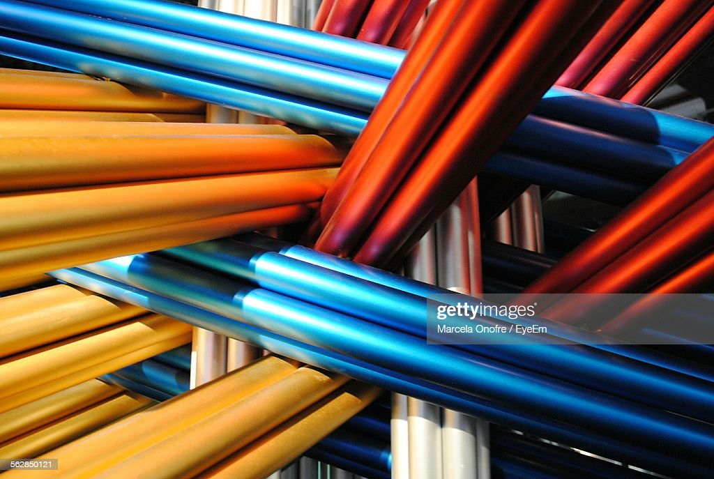 Full Frame Shot Of Colorful Metallic Pipes