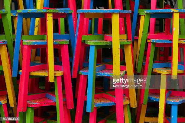 Full Frame Shot Of Colorful Stools Stack