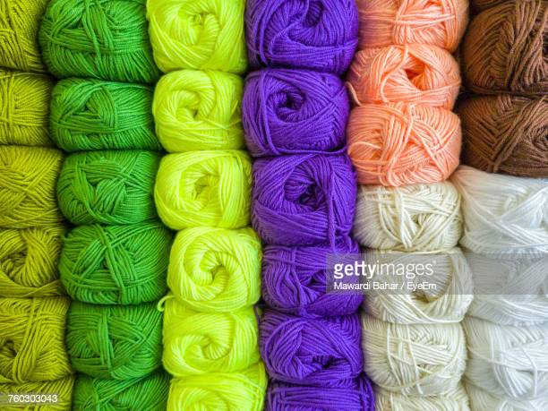 Full Frame Shot Of Colorful Wools For Sale In Shop