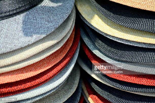 Full Frame Shot Of Fedora Hats At Market Stall