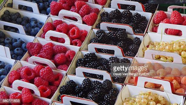 Full Frame Shot Of Fruits Arranged In Boxes For Sale At Market Stall