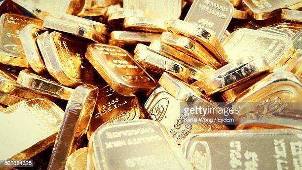 Full Frame Shot Of Gold Bars