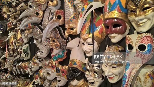 Full Frame Shot Of Masks At Store
