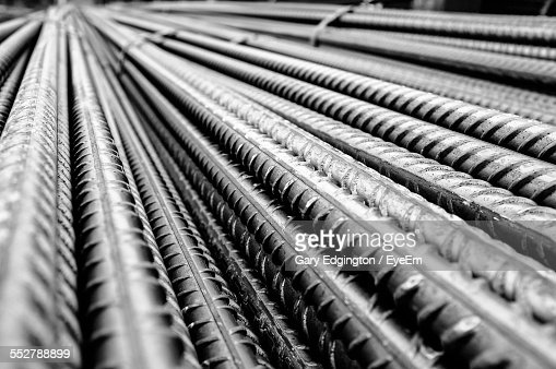 Full Frame Shot Of Metal Rods At Construction Site