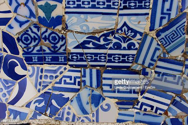 Full Frame Shot Of Mosaic Tile Bench At Park Guell