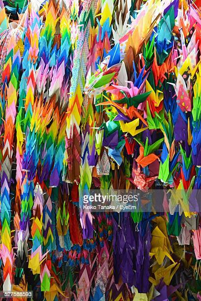 Full Frame Shot Of Multi Colored Paper Cranes