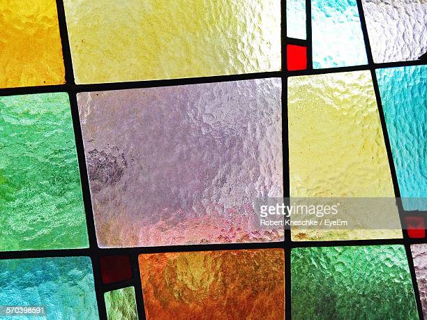 Full Frame Shot Of Multi Colored Stained Glass On Window