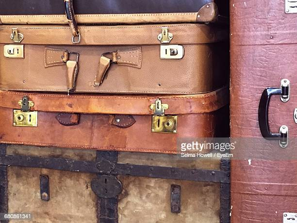 Full Frame Shot Of Old-fashioned Briefcases