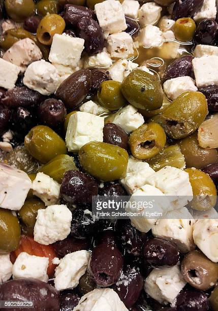 Full Frame Shot Of Olive Salad With Feta Cheese