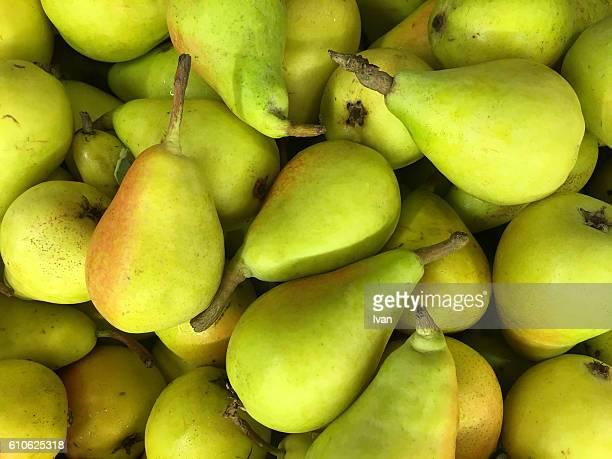 Full Frame Shot Of Organic Raw Green Pears in Market