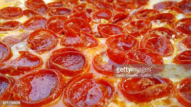 Full Frame Shot Of Pepperoni Pizza