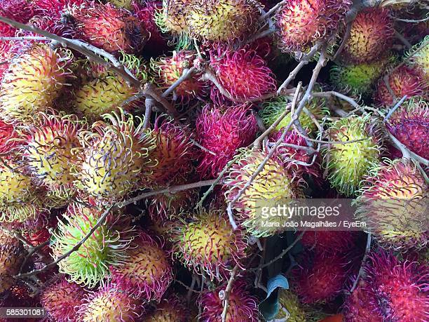 Full Frame Shot Of Rambutans At Market