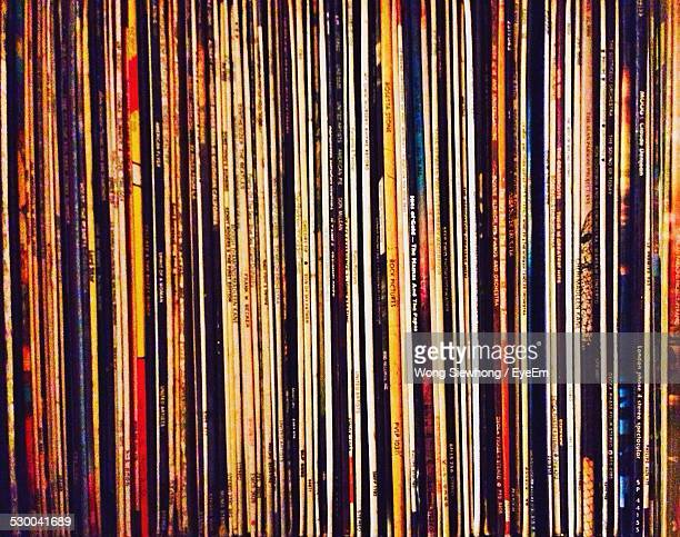 Full Frame Shot Of Records Collection