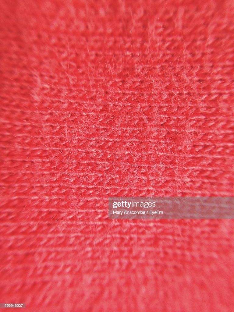 Full Frame Shot Of Red Woolen Fabric