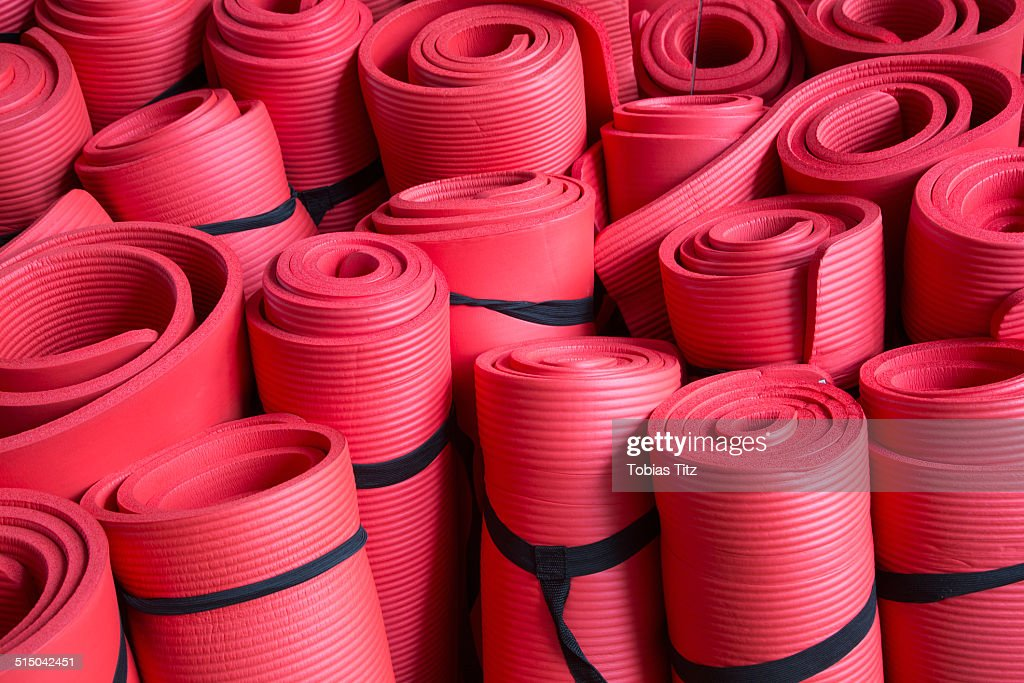 Full frame shot of red yoga mats