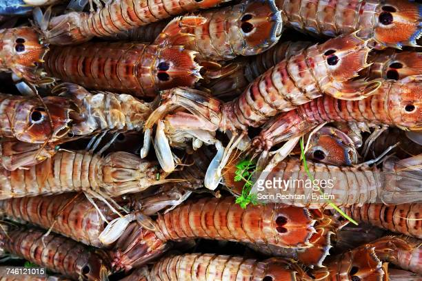Full Frame Shot Of Shrimps For Sale At Market