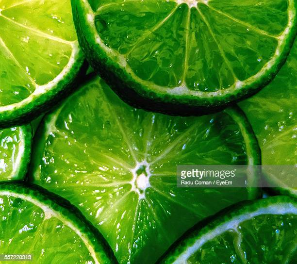 Full Frame Shot Of Sliced Green Limes