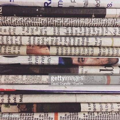 Full frame shot of stacked newspapers