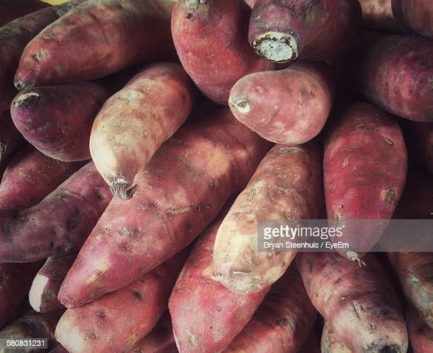 Full Frame Shot Of Sweet Potatoes At Market Stall