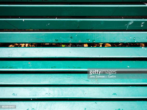 Full Frame Shot Of Turquoise Colored Park Bench