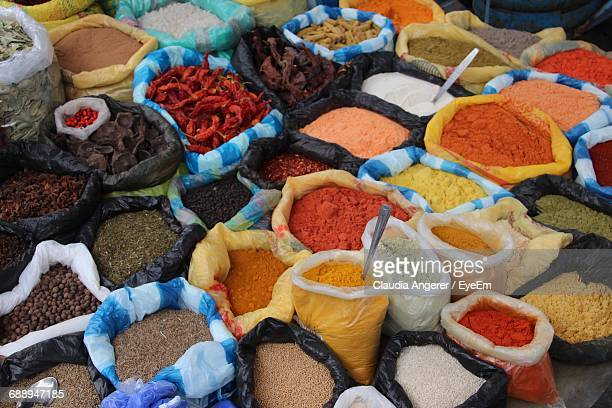 Full Frame Shot Of Various Colorful Spices For Sale At Market