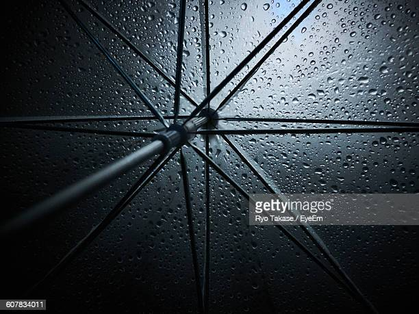 Full Frame Shot Of Wet Umbrella At Night During Monsoon