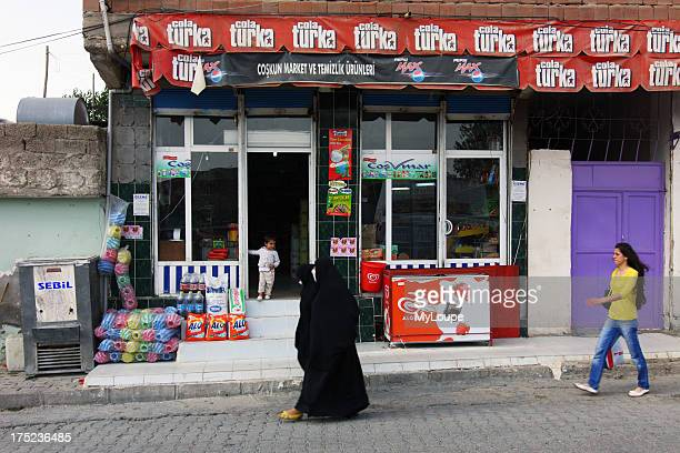 Full hijab and western style women in Cizre Turkey border town with Iraq