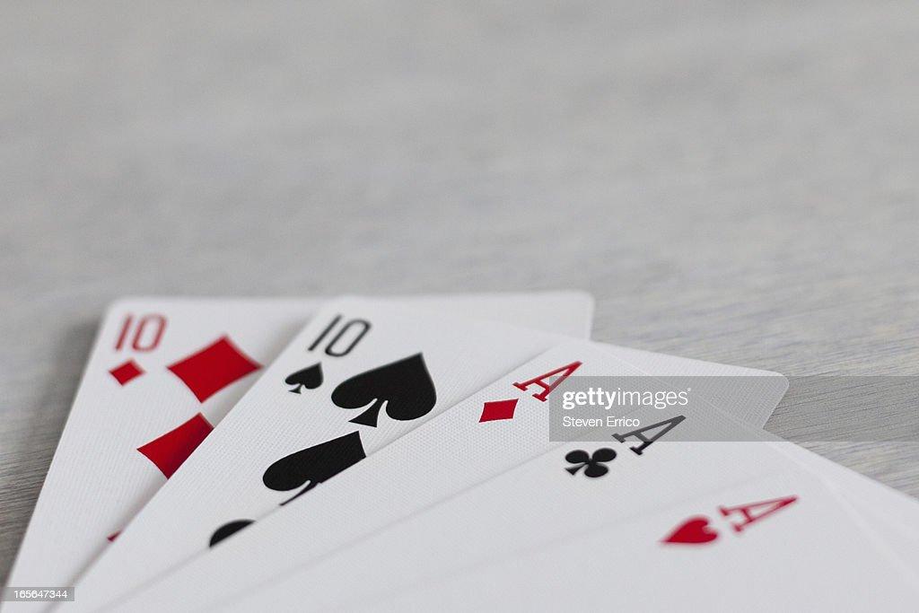 Full house hand in poker : Stock Photo