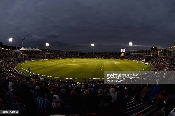 A full house watches the 1st Royal London OneDay International match between England and Australia at Ageas Bowl on September 3 2015 in Southampton...