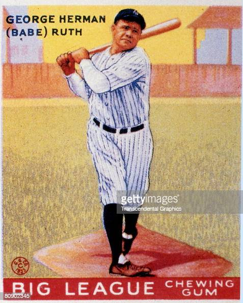 Full length color lithograph portrait of George Heramn 'Babe' Ruth swinging a bat The image is from a trading card published by the Goudey Gum...