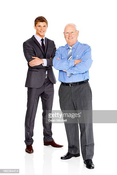 Full length image of two successful businessmen on white
