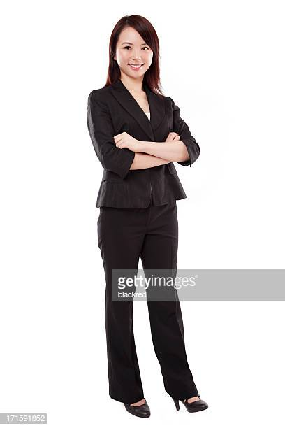 Full Length of Attractive Asian Businesswoman on White Background