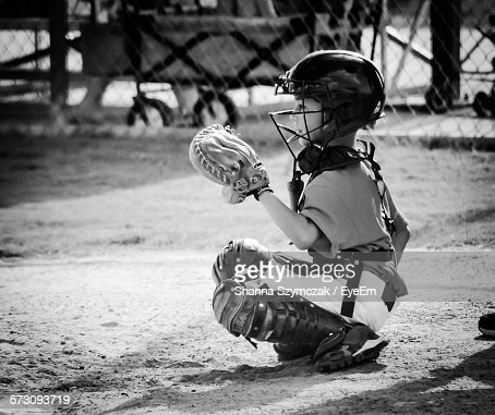 Full Length Of Baseball Catcher On Field