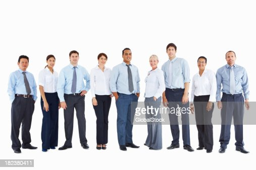 Full length of office colleagues standing in line