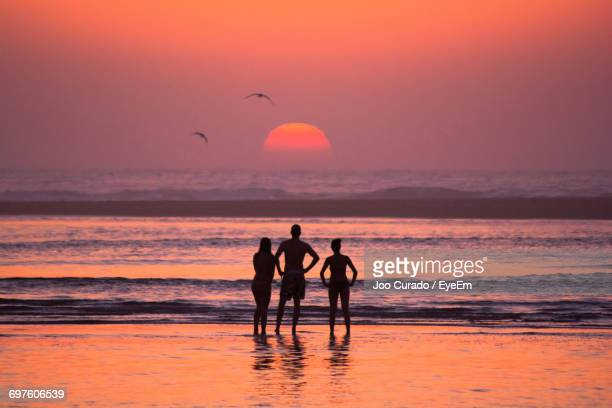Full Length Of Silhouette Friends Standing At Sea Shore During Sunset