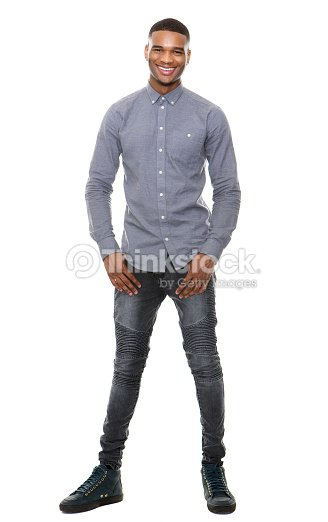 Full length portrait of a cool black guy smiling : Stock Photo