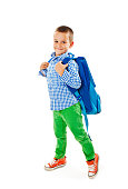 Full length portrait of a smiling school boy with backpack. Isolated on white background