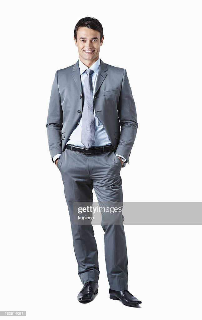 Full length portrait of a successful business man on white