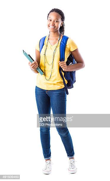 Full length portrait of African American high school girl
