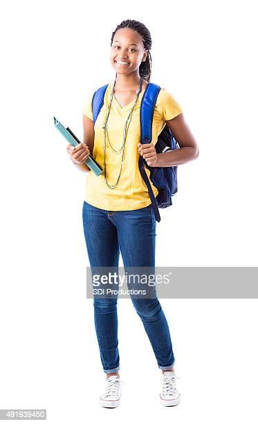 Retrato de comprimento total africano-americana Menina de escola secundária