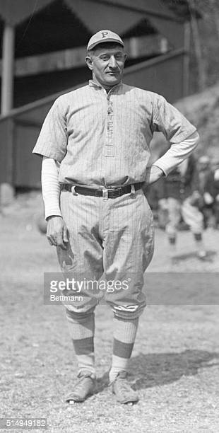 Full length portrait of Hans Wagner shortstop for the Pittsburgh Pirates standing on the baseball field in his uniform prior to an unidentified game...