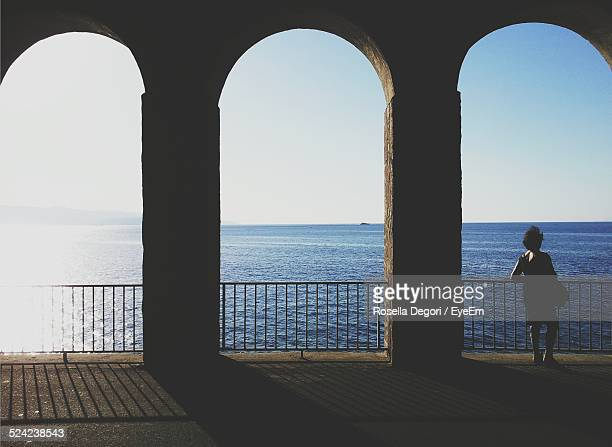 Full Length Rear View of Woman Standing By Railing Against Sea