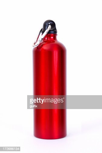 Full length red waterbottle