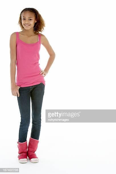 Full Length View Of Teenage Girl In Studio