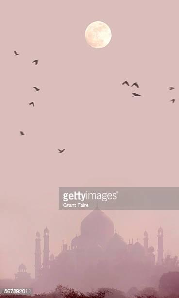 Full moon above Taj Mahal