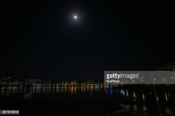Full moon after the eclipse over the city of Chalkida Greece on 7 August 2017